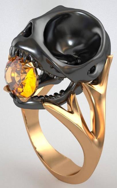Кольцо Череп птички
