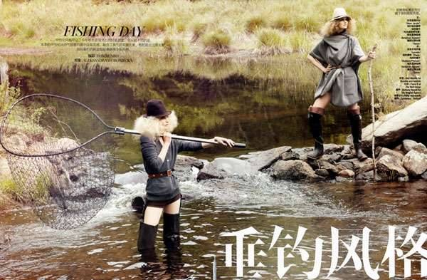 Фотосессия рыбалки в Vogue Китай