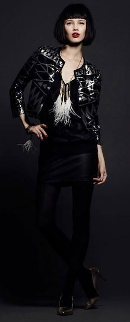 Черная одежда интересного стиля