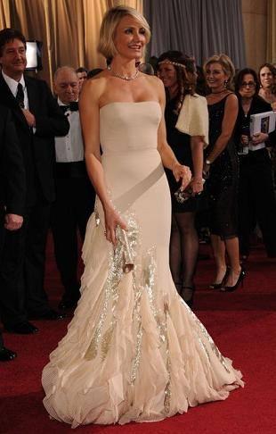 Кэмерон Диаз в кремовом платье Gucci