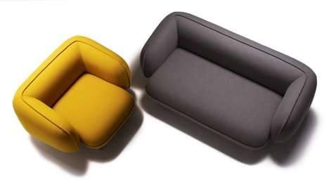 Плюшевые круглые диваны - украшение интерьера