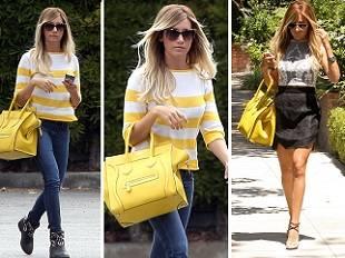 Эшли Тисдейл в двух стилизаций и сумкой Celine