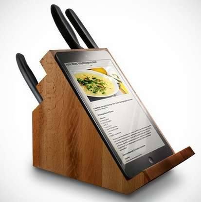 Подставка для ножей с подставкой для планшета