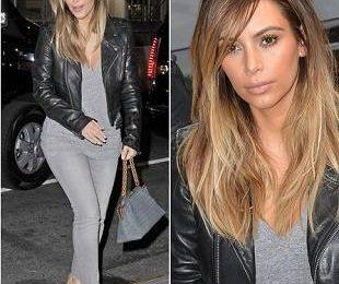 Ким Кардашян в кожаной куртке и каблуках Saint Laurent