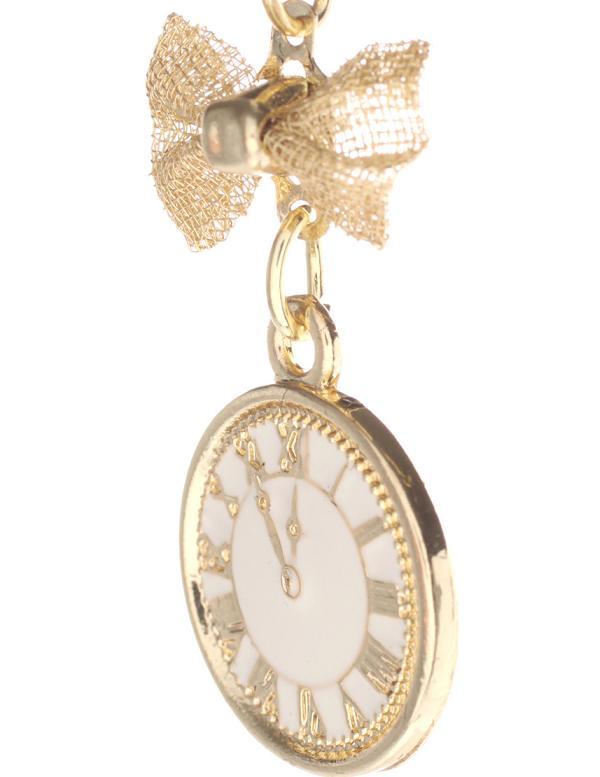 Серьги с кулоном в форме наручных часов