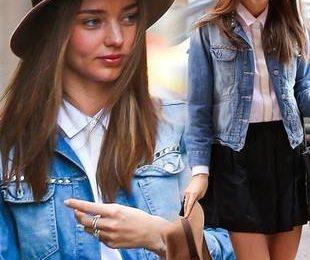 Миранда Керр в шляпе и джинсовой куртке